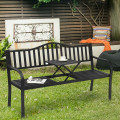 Patio Garden Bench Steel Frame with Adjustable Center Table