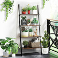 Multipurpose 4-Tier Industrial Leaning Wall Bookcase with Metal Frame
