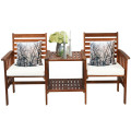3 Pcs Outdoor Patio Table Chairs Set Acacia Wood Loveseat