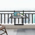 Railing Folding Table with 5-Level Adjustable Heights