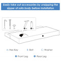 Convertible Futon Sofa Bed Adjustable Sleeper with Stainless Steel Legs