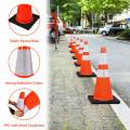 "6 Pcs 28"" PVC Fluorescent Reflective Road Parking Cones"