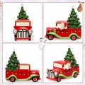 Pre-Lit Vintage Tabletop Ceramic Christmas Tree and Truck Battery