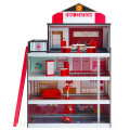 Wooden Fire Station Dollhouse Playset with Truck and Helicopter