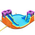 6-in-1 Inflatable Dual Water Slide Bounce House Without Blower