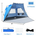 3-4 Person Easy Pop Up Beach Tent UPF 50+ Portable Sun Shelter
