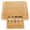 Bamboo Cheese Board & Knife Set  w/ Slide-out Drawer