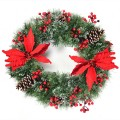 Pre-lit Snow Flocked Christmas Wreath with 50 LED Lights