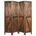 4 Panels Folding Wooden Room Divider
