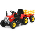 12V Ride on Tractor with 3-Gear-Shift Ground Loader for Kids 3+ Years Old