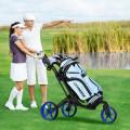 Folding Golf Push Cart with Scoreboard Adjustable Handle Swivel Wheel