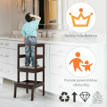 Wooden Kids Kitchen Learning Toddler Tower with Safety Rail