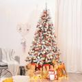 Pre-Lit Premium Snow Flocked Hinged Artificial Christmas Tree