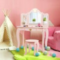 Kids Makeup Dressing Table with Tri-folding Mirror and Stool