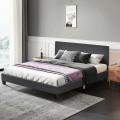 Queen Upholstered Platform Bed Frame with Linen Headboard Wood Slat