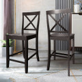 """24"""" 2 Pack Rubber Wood Frame Kitchen Chairs"""