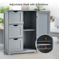 Bathroom Floor Cabinet Side Storage Cabinet with 3 Drawers and 1 Cupboard