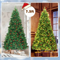 7.5Ft Pre-lit Hinged Christmas Tree with 550 LED Lights