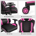 Massage Gaming Chair with Lumbar Support and Headrest