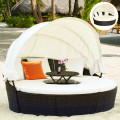 Patio Round Daybed Rattan Furniture Sets with Canopy