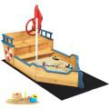 Wooden Pirate Boat Wood Sandbox for Kids
