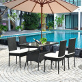 5 Pcs Modern Outdaoor Patio Rattan Dining Set with Glass Top
