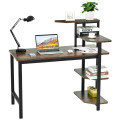 Computer Desk Writing Study Table with Storage Shelves Home Office Rustic Brown
