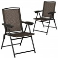 2 Pcs Folding Sling Chairs with Steel Armrest and Adjustable Back for Patio