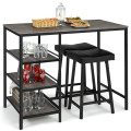 3 Pcs Counter Height Dining Bar Table Set with 2 Stools and 3 Storage Shelves