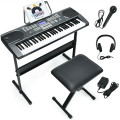 61-Key Electronic Keyboard Piano Starter Set with Stand Bench and Headphones
