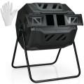 43 Gallon Composting Tumbler Compost Bin with Dual Rotating Chamber