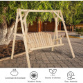 Outdoor Wooden Porch Bench Swing Chair with Rustic Curved Back