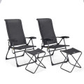 4 Pieches Patio Adjustable Back Folding Dining Chair Ottoman Set
