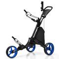 Folding 3 Wheels Golf Push Cart with Bag Scoreboard Adjustable Handle
