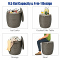 9.5 Gallon 4-in-1 Patio Rattan Cool Bar Cocktail Table Side Table