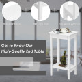 2-Tier Nightstand End Side Wooden Legs Table for Bedroom