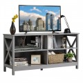 Wooden TV Stand Entertainment Media Center with Cable Management for Home