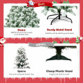 4.5 ft Snow Flocked Artificial Christmas Tree with 400 Tips and Foldable Base