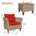 3 Pieces Patio Rattan Bistro Furniture Set