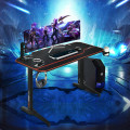 "55"" T-Shaped Gaming Desk with Full Desk Mouse Pad and Gaming Handle Rack"