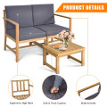 3 in 1 Acacia Wood Loveseat with Separable Coffee Table