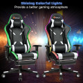 Ergonomic High Back Massage Gaming Chair with Light and Handrails