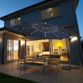 10 feet 360° Rotation Solar Powered LED Patio Offset Umbrella without Weight Base