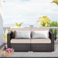 2PCS Patio Rattan Sectional Conversation Sofa Set
