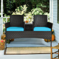 Modern Patio Conversation Set with Built-in Coffee Table and Cushions