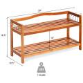 2-Tier Wood Shoe Rack Freestanding Shoe Storage Organizer