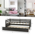Twin Size Trundle Platform Bed Frame with  Wooden Slat Support