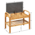 Shoe Rack Bench Bamboo with Cushione and Storage Shelf