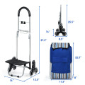 Heavy Duty Folding Shopping Cart with Bungee Cord and Detachable Bag
