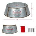 Galvanized Metal ChristmasTree Collar Skirt Ring Cover Decor